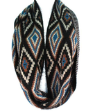DIAMOND PRINT INFINITY SCARF - BLUE - Lovely Push Boutique