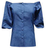 DENIM SQUARE COLLAR TOP - Lovely Push Boutique