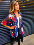 ROSE FLORAL PATTERN KIMONO - Lovely Push Boutique