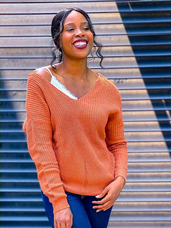 TWIST BACK/FRONT SWEATER - RUST ORANGE - Lovely Push Boutique