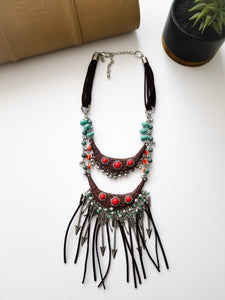 NECKLACE - DOUBLE COLLAR & FRINGE - Lovely Push Boutique