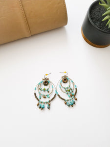 EARRINGS - TURQ BEADED DANGLE - Lovely Push Boutique