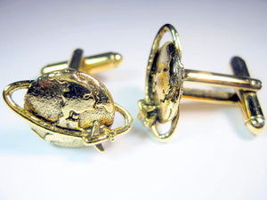World Globe Airplane Cufflinks
