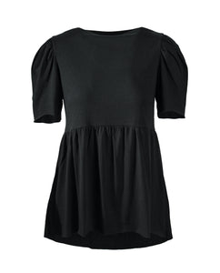 Extended puff short sleeve black cotton modal babydoll tee