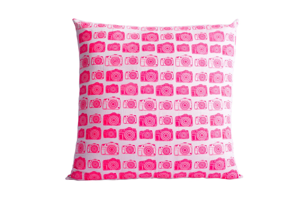 Camera Print Hot Pink Cushion 16 X 16 inches