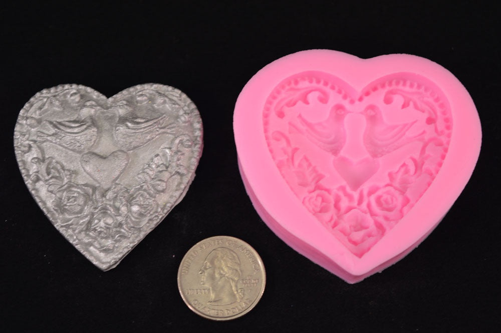 Heart With Doves Silicone Mold