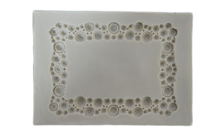 Square Frame with Pearls / Diamonds Silicone Mold