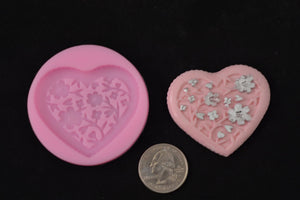 Heart With Flower Print Silicone Mold