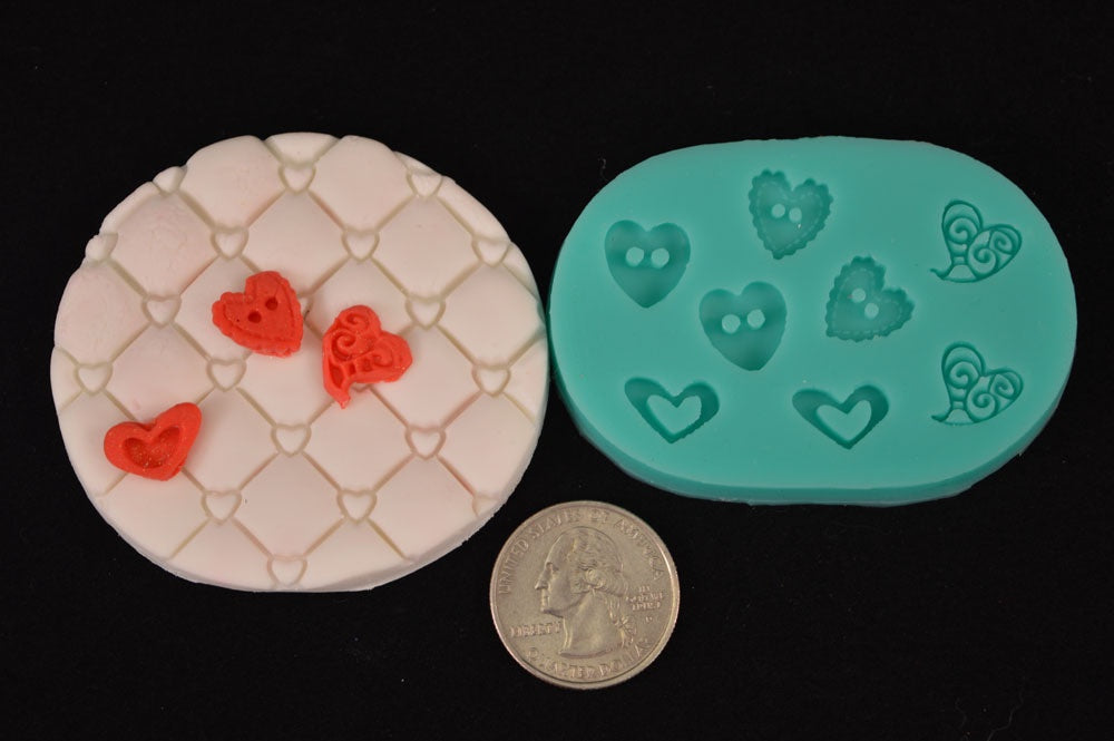 Small Heart Buttons Mix Silicone Mold