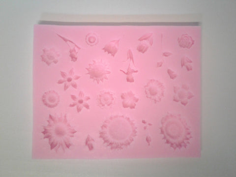 Flowers and Stems Mix Silicone Mold