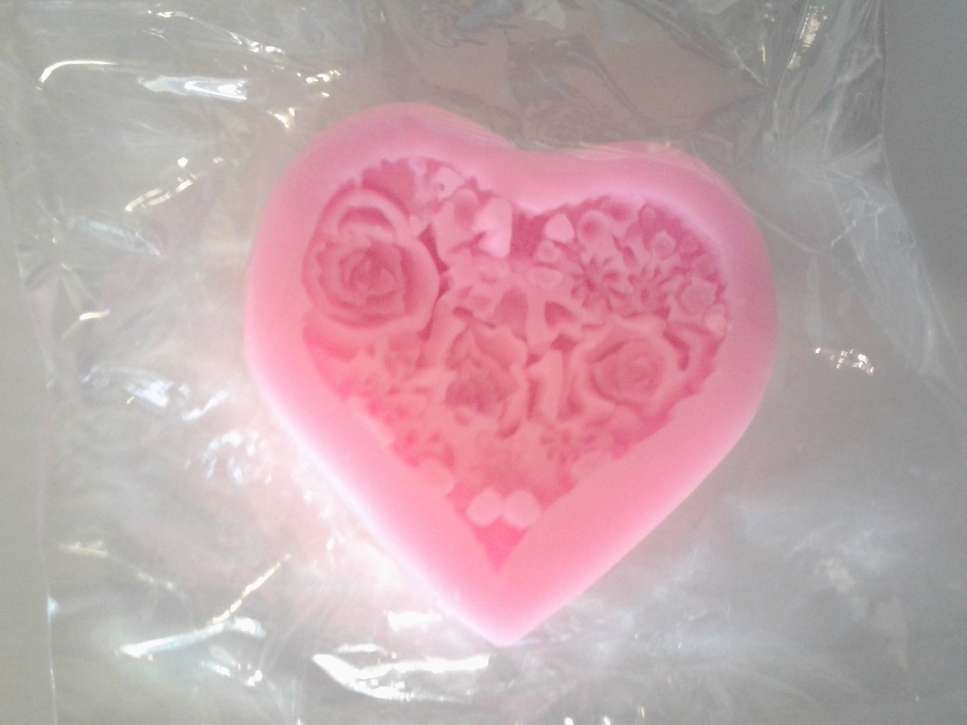 Heart With 3D Roses Silicone Mold