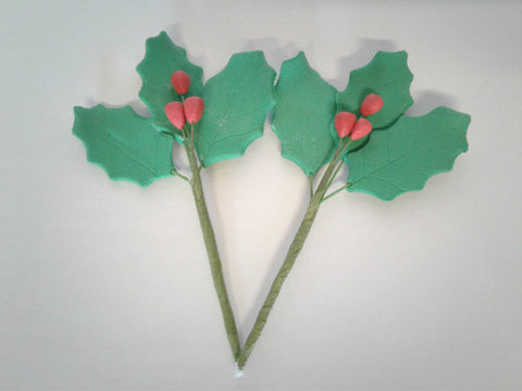 Holly and Berry Edible Flower 2 Count