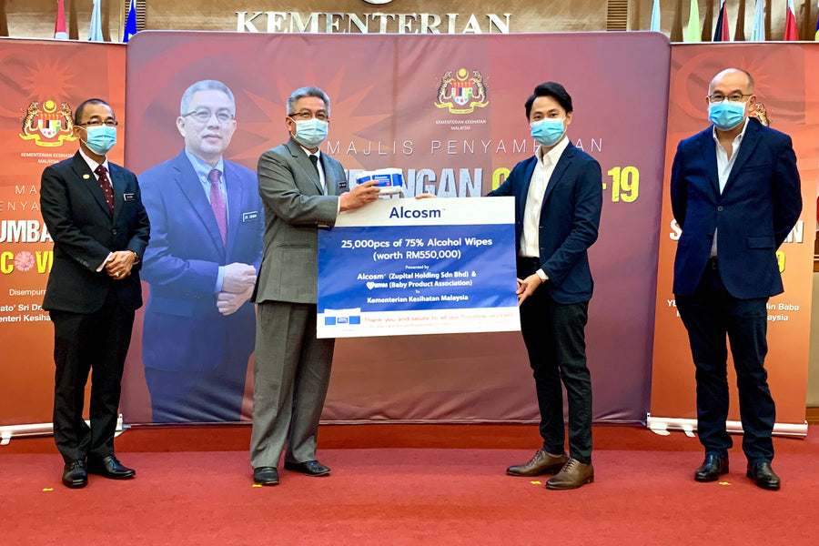 Alcosm Sponsored 25,000 Packs Alcohol Wipes to Malaysia's Ministry of Health