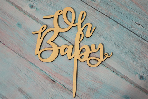 Clever Crumb Wood Cake Topper, Oh Baby, DIY Cake Kits