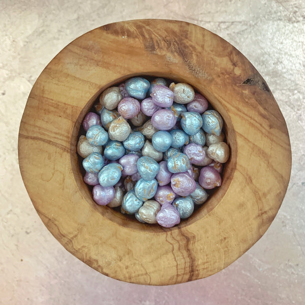 metallic chickpea pearls lagoon mix in wooden bowl