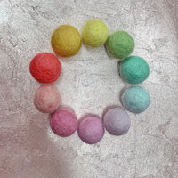 pastel rainbow ELEMENTS felt balls set