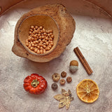 Autumn Treasure basket with pumpkin and metallic chickpeas