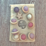 pastel planet felt balls flying saucer loose parts set