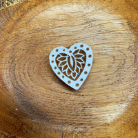 wooden carved heart stamp