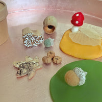 autumn  playdough set with squirrel stamp and felt toadstool