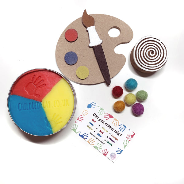 primary colour mixing playdough kit