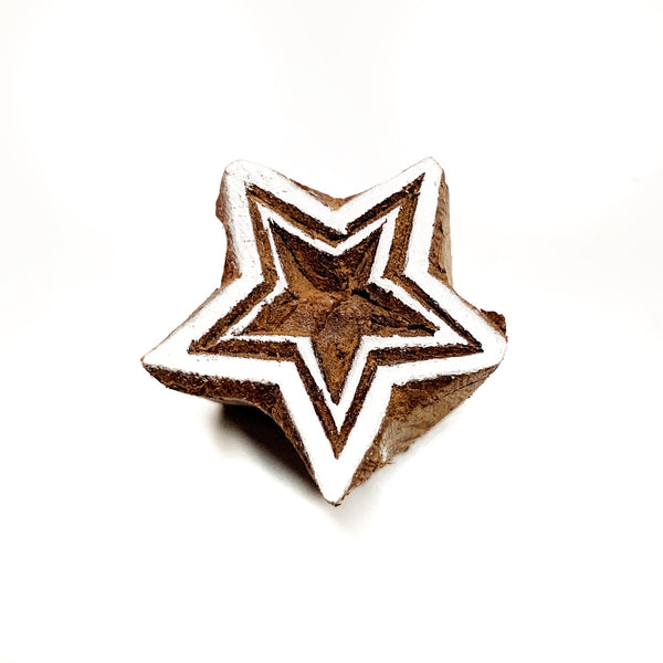 hand carved wooden star stamp