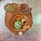natural sensory treasure basket in coconut bowl