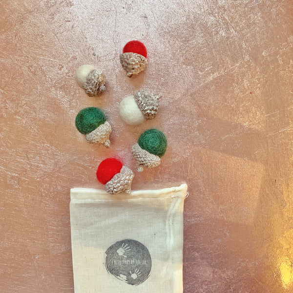 christmas coloured felt acorns