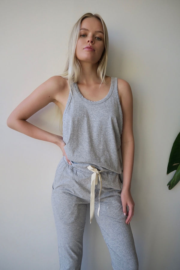 SLOUCH ATHLETIC TANK GREY - BASSIKE