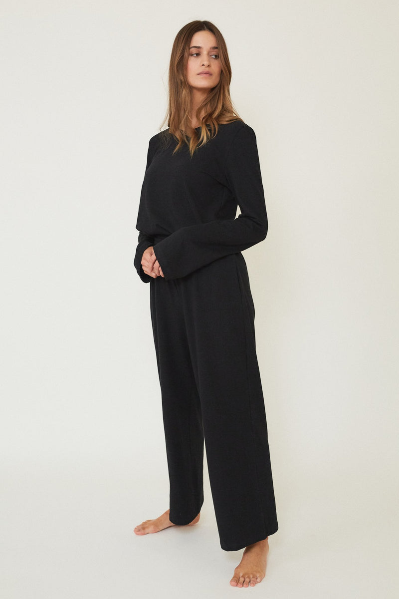 STELLA FLUTED LONG SLEEVE BLACK - LE BUNS