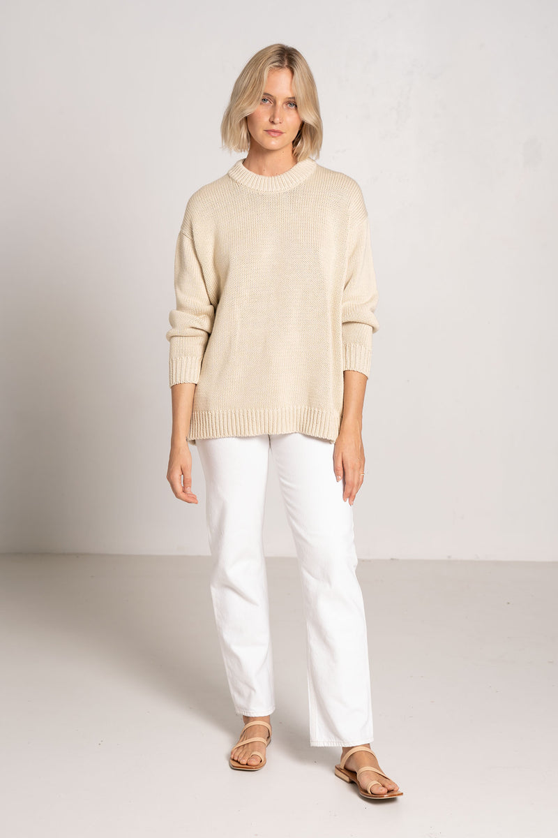CHUNKY CREW NECK JUMPER IVORY - I LOVE MR. MITTENS