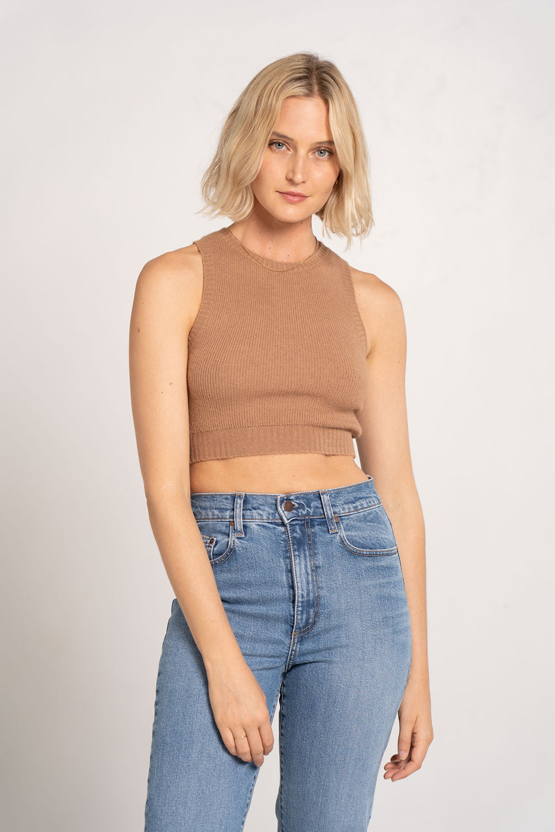 CECILE KNIT CROP TOP MOCHA - BEC + BRIDGE