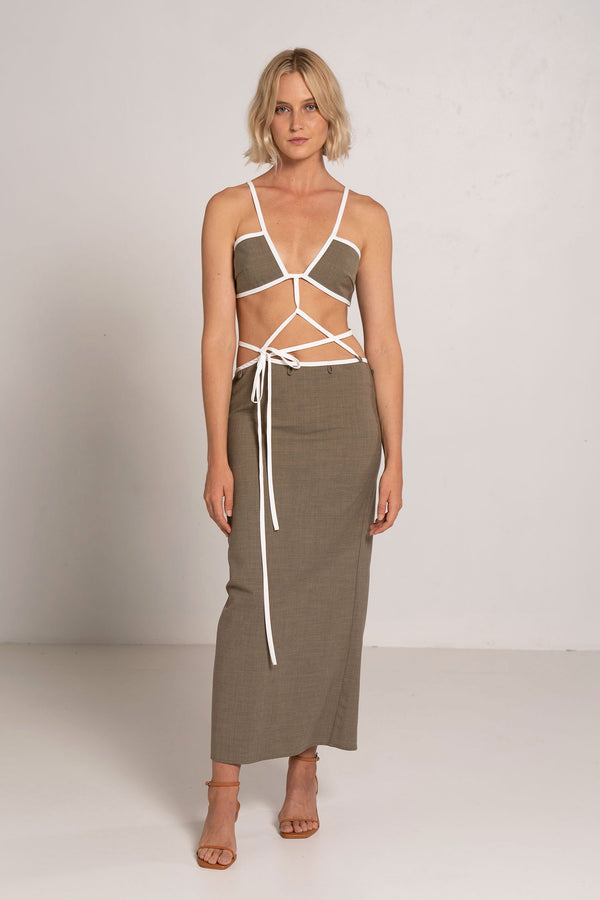 OUTLINE CROSS BANDEAU TIE DRESS KHAKI/WHITE - CHRISTOPHER ESBER
