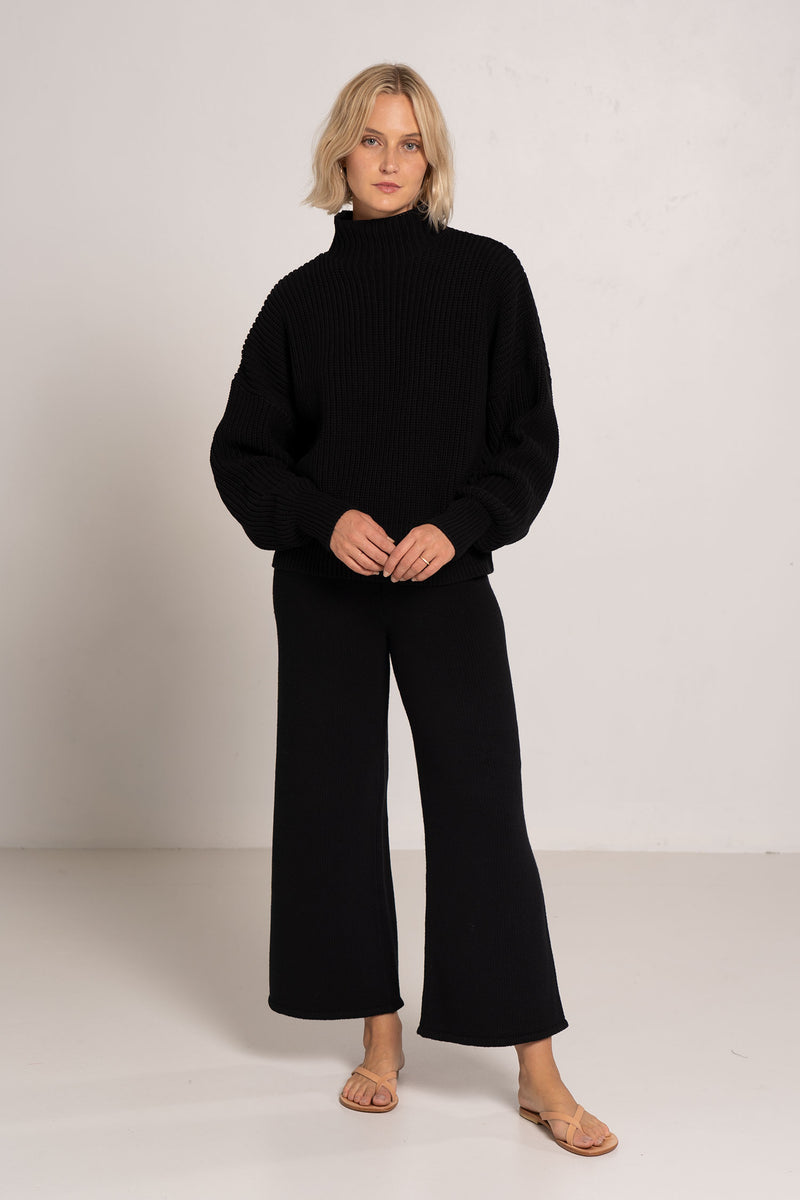 REM KNIT LOUNGE PANT BLACK - ST.AGNI