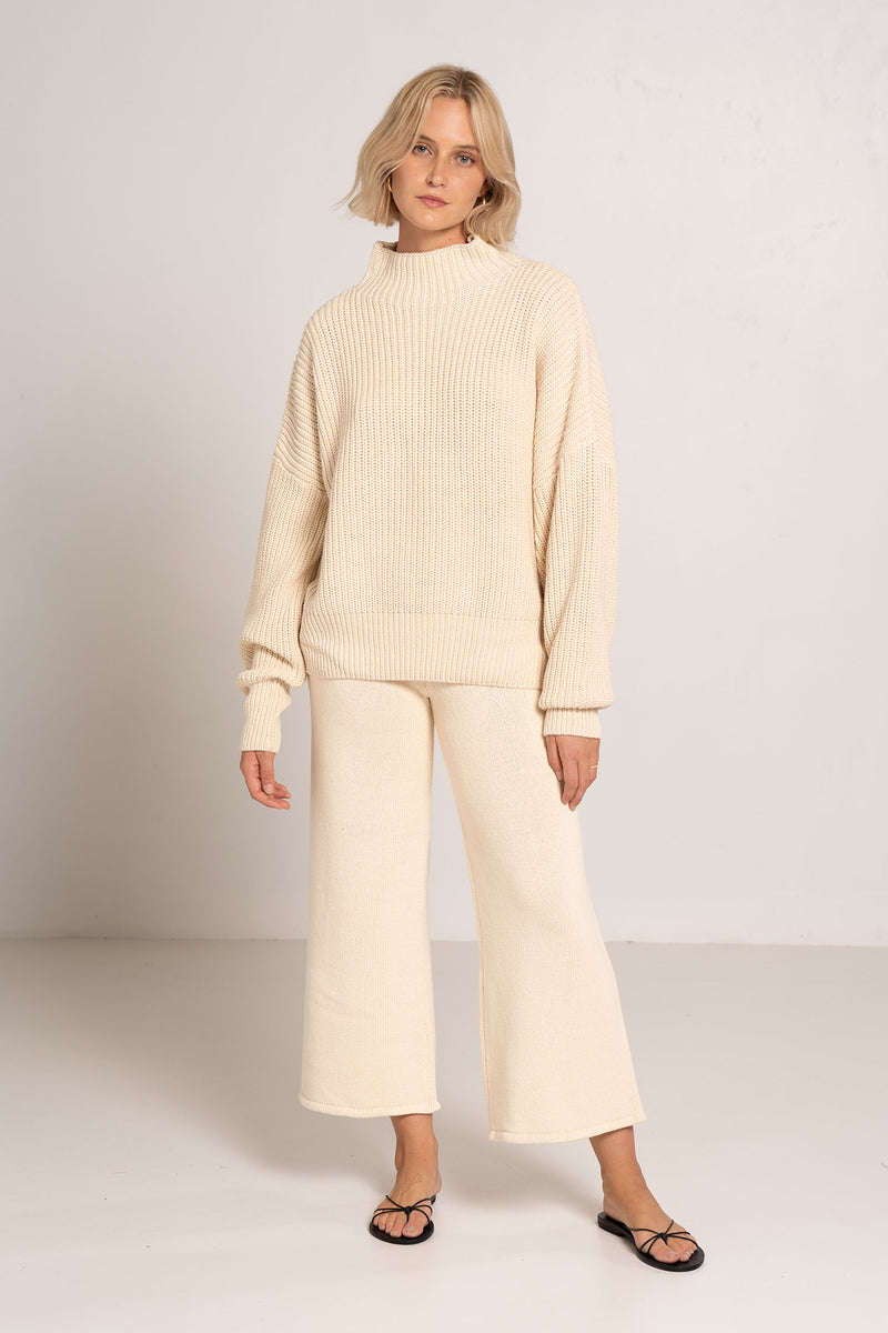JORN FISHERMAN KNIT JUMPER ECRU - ST.AGNI