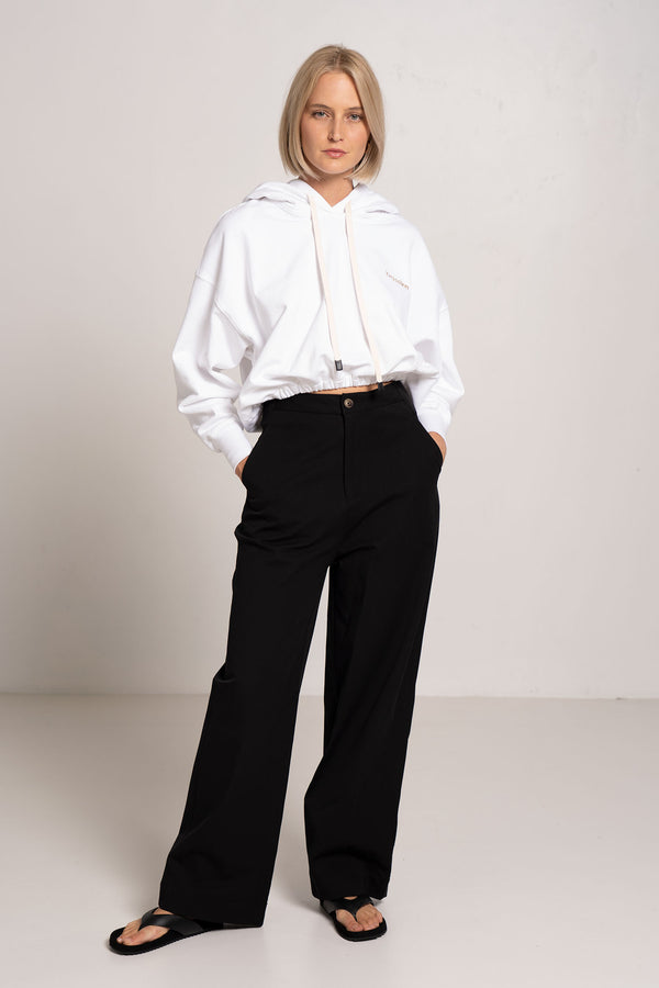 STRETCH TWILL WIDE LEG PANT BLACK - BASSIKE