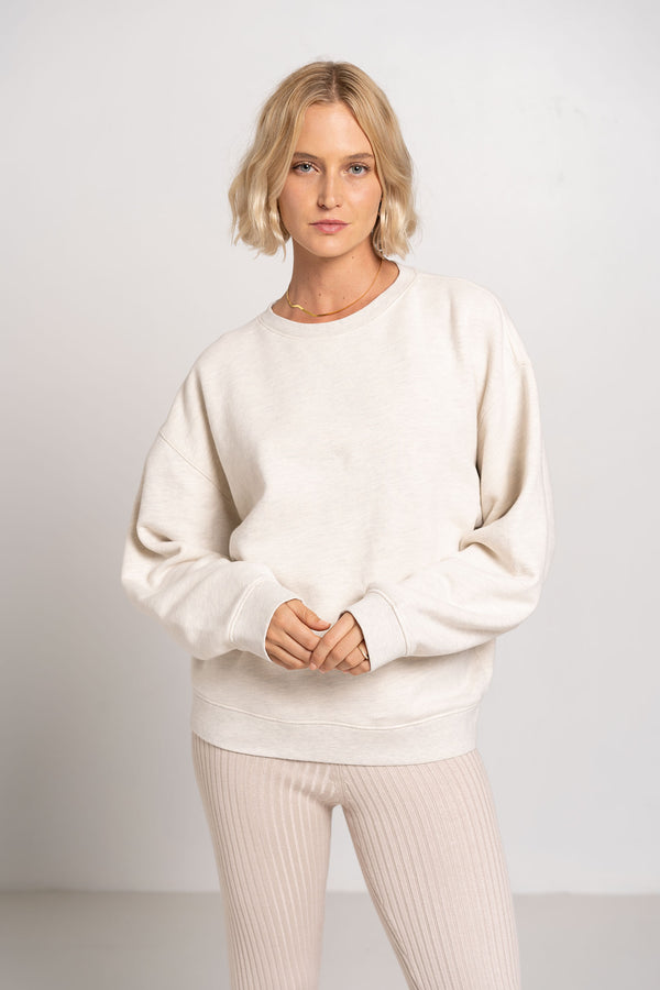 NOLAN SWEATSHIRT OATMEAL HEATHER - AGOLDE