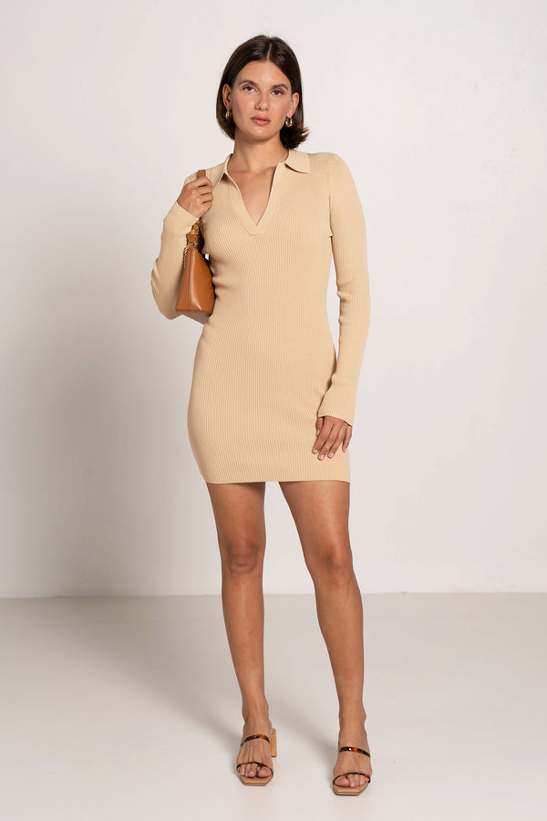 HARPER KNIT MINI DRESS LATTE - BEC + BRIDGE
