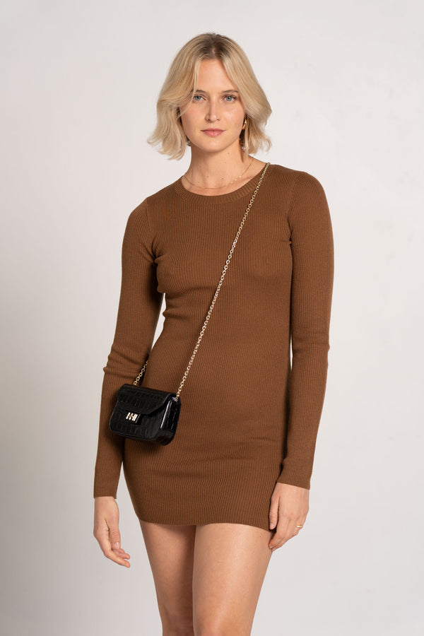 FREYA L/S KNIT MINI DRESS CHOCOLATE - BEC + BRIDGE