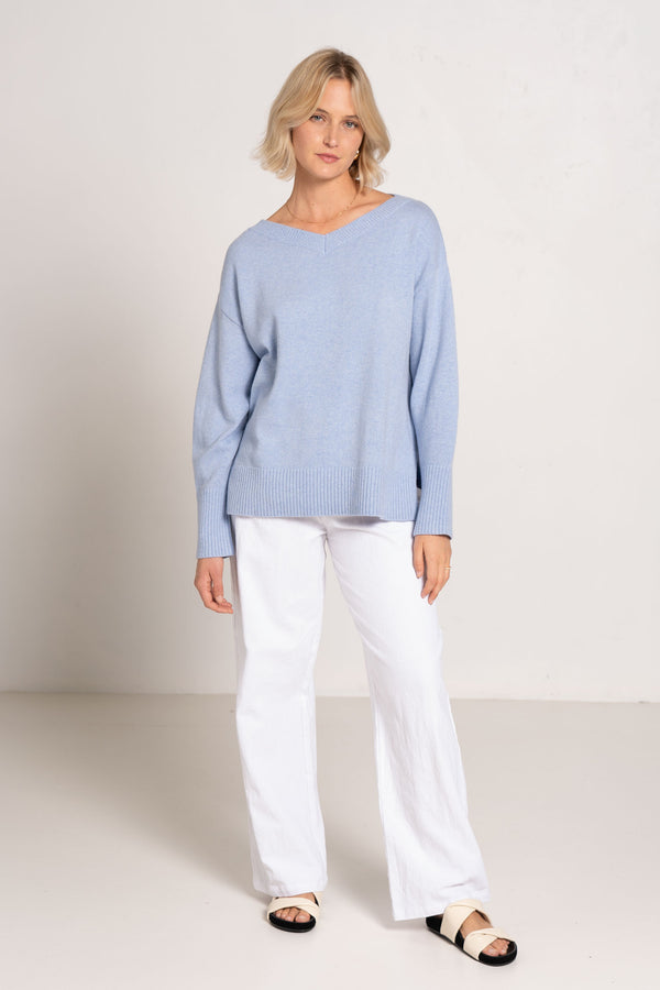 TEMORA KNIT JUMPER MISTY BLUE - C+M