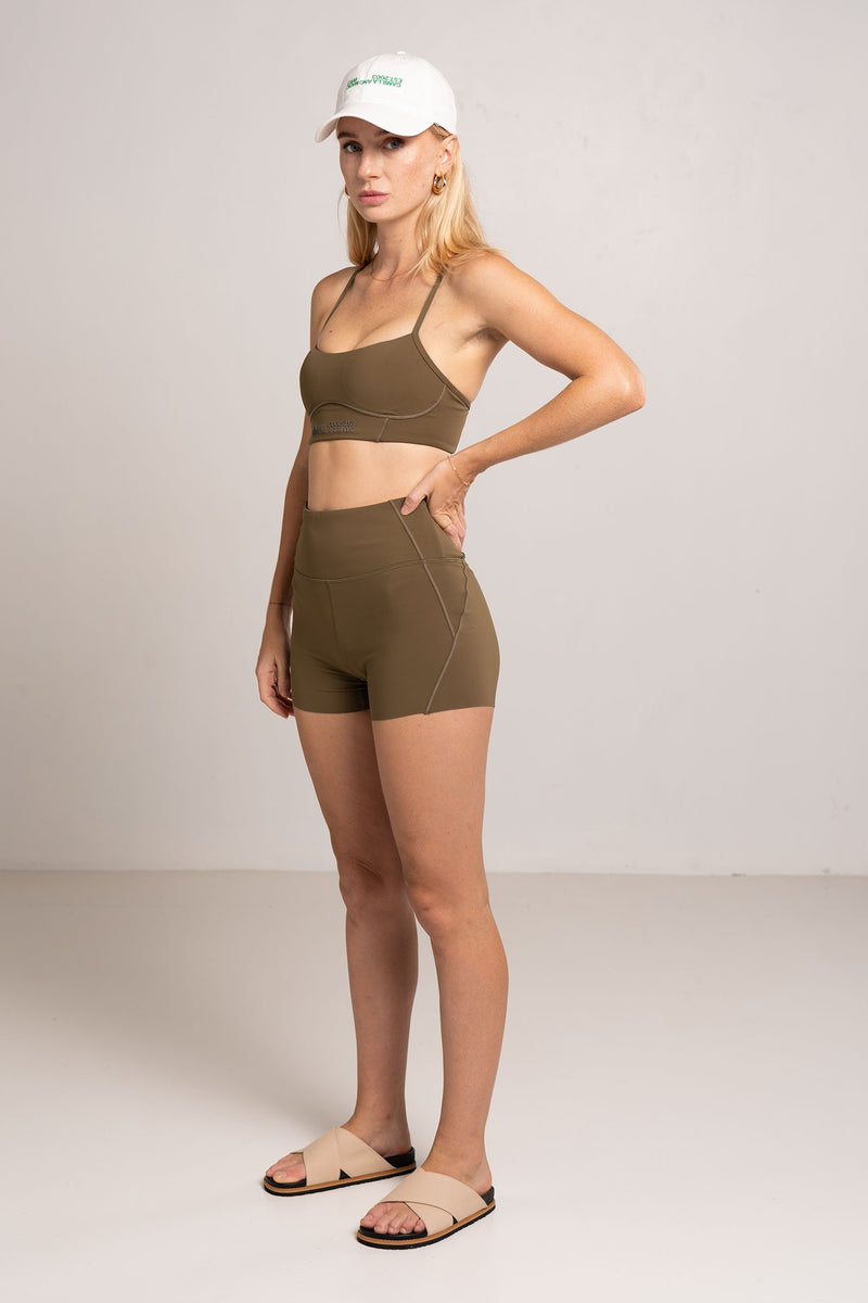 KENNEDY PANELLED CROP DARK KHAKI - C+M