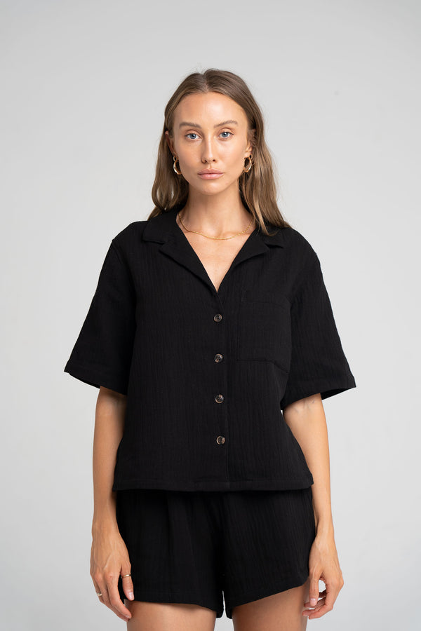 ISLAND SHIRT BLACK - SARA FOX THE LINE