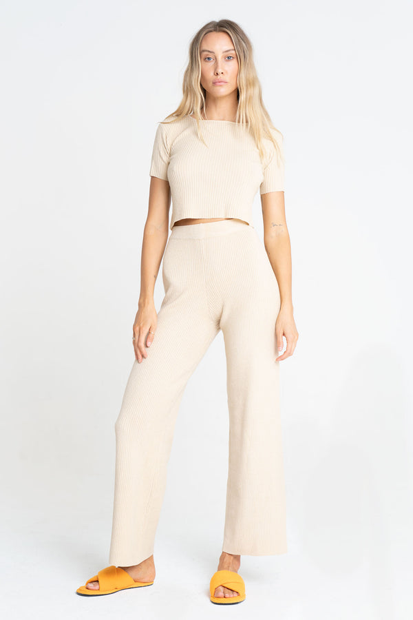 BELLA RIBBED PANT NUDE - SARA FOX THE LINE