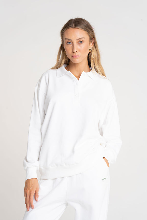 COLLARED SWEAT TOP WHITE - SARA FOX THE LINE