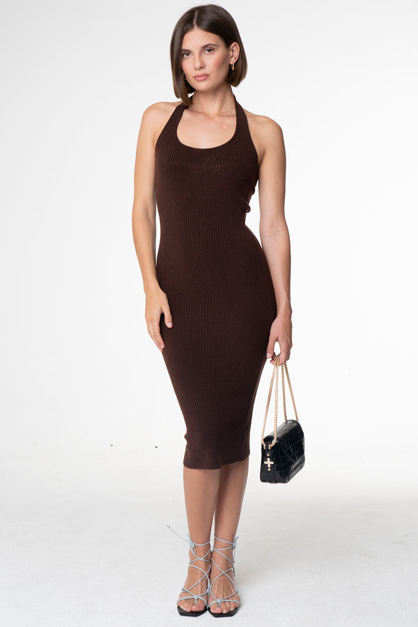 DEVON RIBBED HALTER DRESS - SARA FOX THE LINE