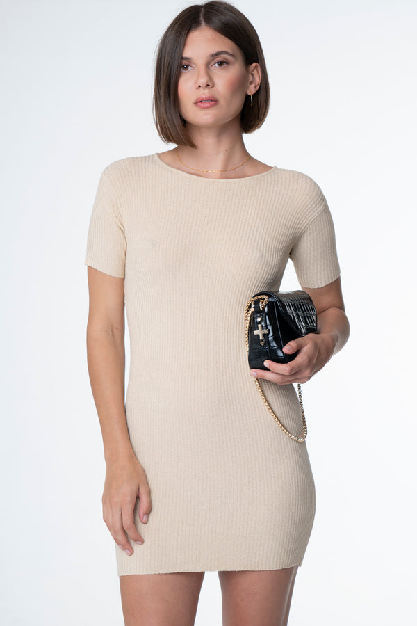 BELLA RIBBED TEE DRESS NUDE - SARA FOX THE LINE