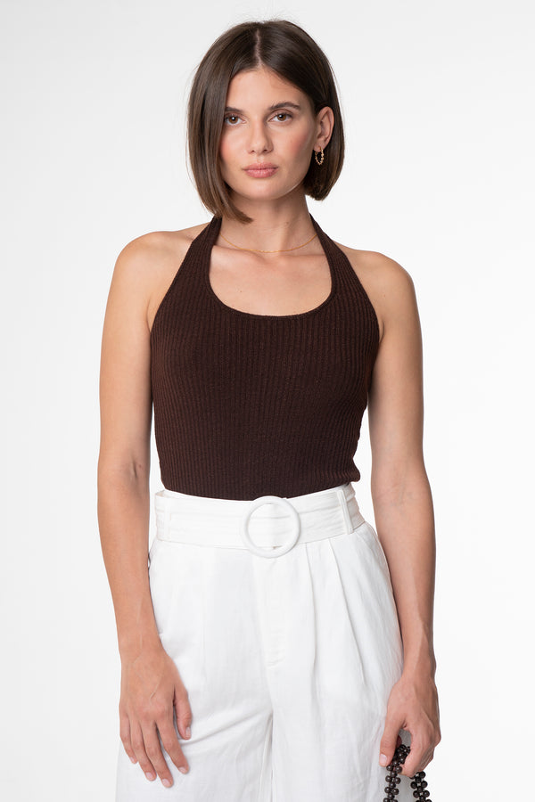 DEVON RIBBED HALTER TOP - SARA FOX THE LINE