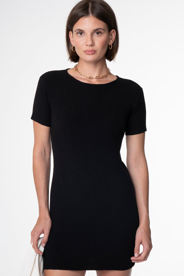 BELLA RIBBED DRESS BLACK - SARA FOX THE LINE