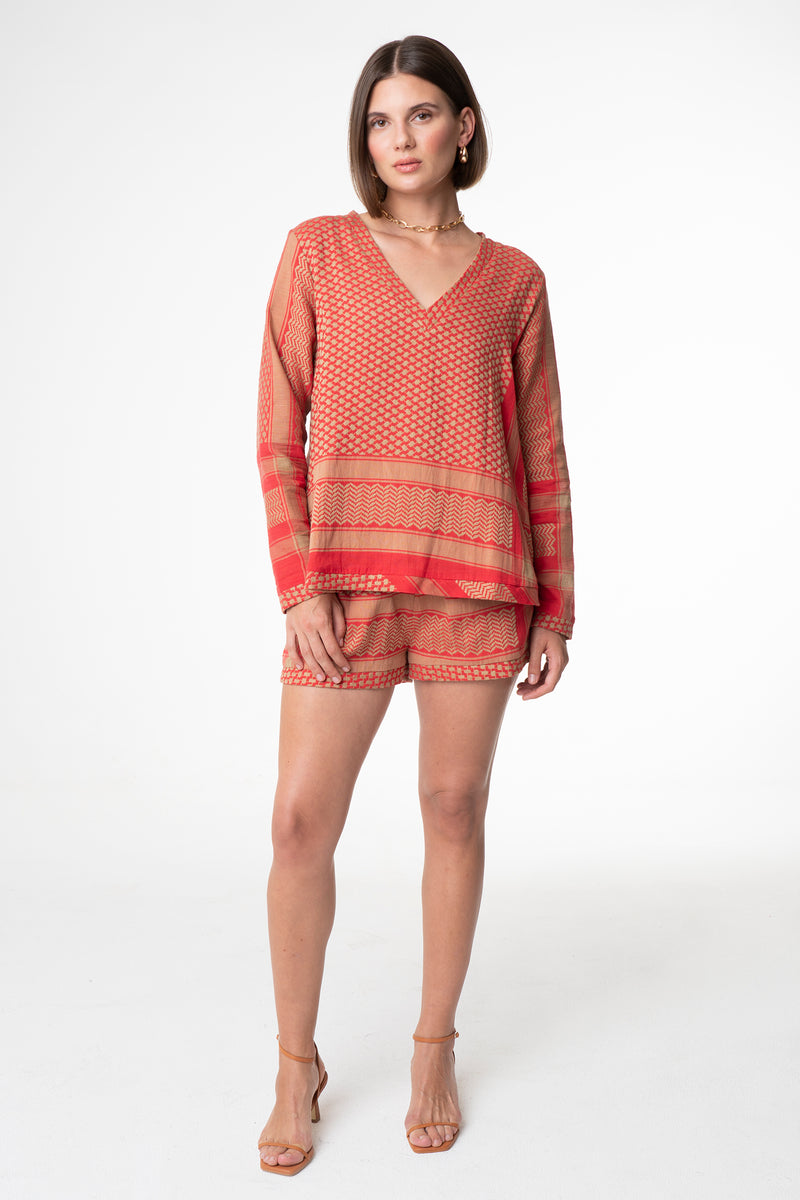 SHORTS CAMEL/RED - CECILIE COPENHAGEN
