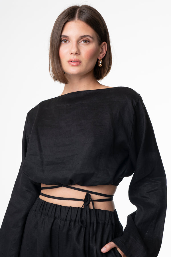 HELEN BOATNECK TOP BLACK - SARA FOX THE LINE